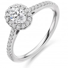 Platinum Oval Solitaire FVS1 Diamond Halo Ring