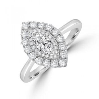 Platinum Marquise Certified DSi2 Diamond Halo Ring