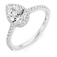 Platinum ESi1 Diamond Pear Halo Ring