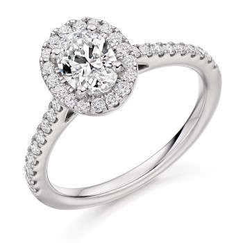 Platinum Oval EVS2 Diamond Halo Ring