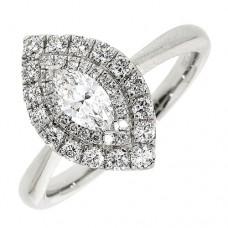 Platinum Marquise FVS2 Diamond Double-Halo Ring