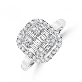 Platinum Baguette Diamond Cushion Halo Cluster Ring