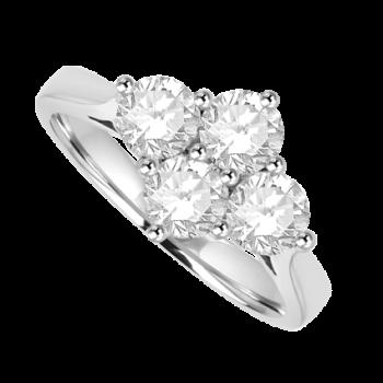 Platinum 2x2 1.00ct Diamond Cluster Ring