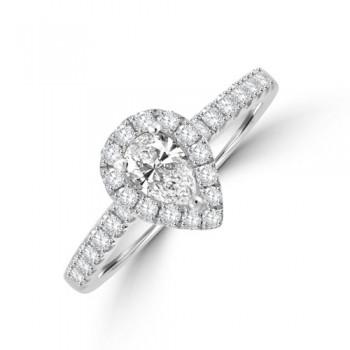 Platinum Pear Solitaire DSi1 Diamond Halo Ring