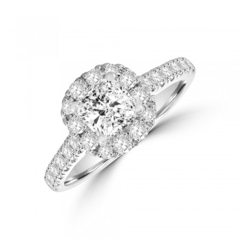 Platinum Cushion DSi1 Diamond Halo Ring