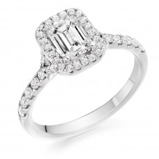 Platinum Emerald cut ESi1 Diamond Halo Ring