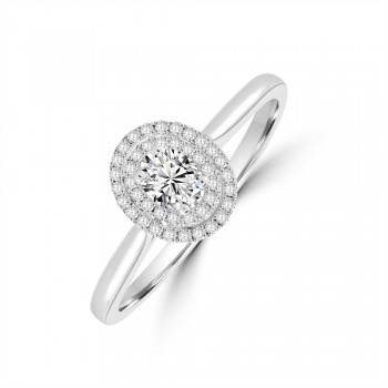 Platinum Solitaire Oval Diamond Double Halo Ring