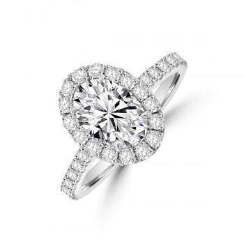 Platinum Oval GSi1 Diamond Halo Ring