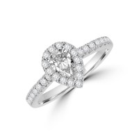 Platinum Pear ESi1 Diamond Halo Ring