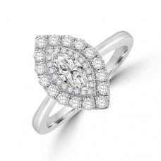 Platinum Marquise ESi1 Diamond Double Halo Ring