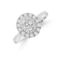 Platinum Oval EVS1 Diamond Double Halo Ring