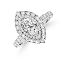 Platinum Marquise FSi1 Diamond Double Halo Cluster Ring