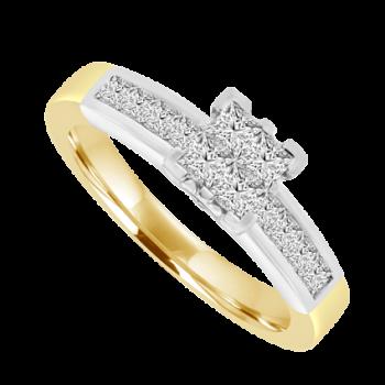 18ct Two-tone Princess cut Diamond Quad Ring