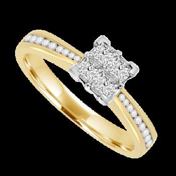 18ct Gold Princess cut Diamond Quad Cluster Ring