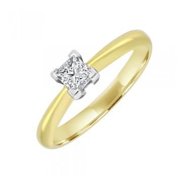 18ct Gold Solitaire Princess cut Diamond Engagement Ring