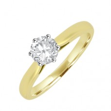 18ct Gold Solitaire GVS2 Diamond 6-claw Engagement Ring