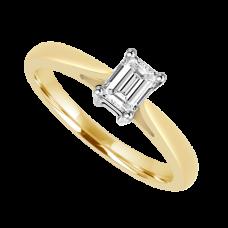 18ct Gold Emerald cut Diamond Solitaire Ring