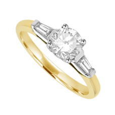 18ct Gold Diamond Solitaire Ring with Tapered Baguettes