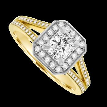 18ct Yellow Gold Phoenix Diamond Solitaire Halo Ring