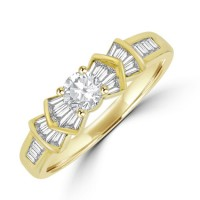 18ct Gold Solitaire Diamond Ring with Baguette cut Design