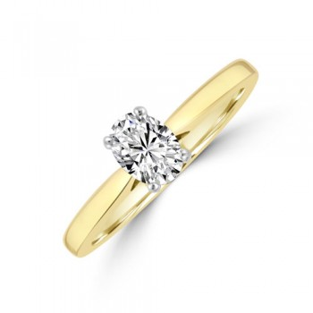 18ct Gold Solitaire Oval DVS1 Diamond Ring