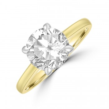 18ct Gold and Platinum 2.22ct Solitaire ISi2 Diamond Ring
