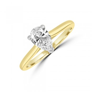18ct Gold and Platinum .90ct Pear ESi1 Diamond Solitaire Ring