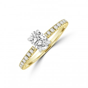18ct Gold & Platinum Oval .50ct DVS1 Diamond Solitaire Ring