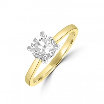 18ct Gold and Platinum Solitaire DVS2 Diamond Ring