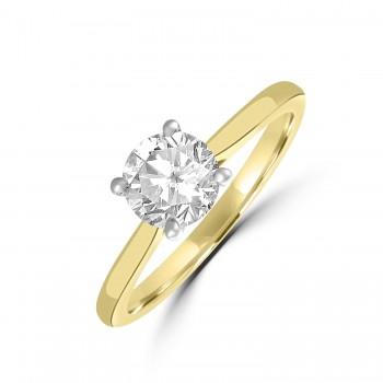 18ct Gold and Platinum Solitaire DSi2 Diamond Ring