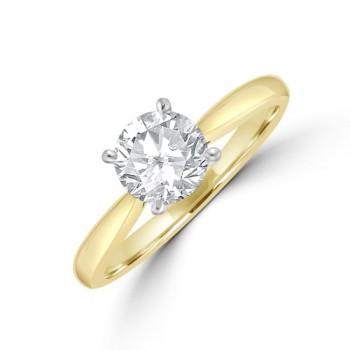 18ct Gold & Platinum 1.01ct Solitaire DSi2 Diamond Ring