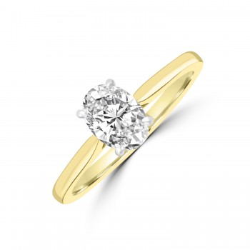 18ct Gold and Platinum Oval .70ct Solitaire DVS2 Diamond Ring