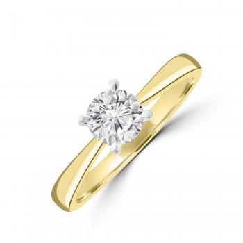 18ct Gold and Platinum .60ct Solitaire DSi1 Diamond Ring