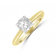 18ct Gold & Platinum .75ct Solitaire DSi1 Diamond Ring