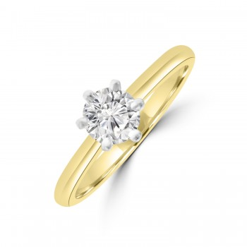 18ct Gold and Platinum .60ct Solitaire ESi1 6-claw Diamond Ring