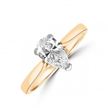 18ct Gold and Platinum .70ct Pear DSi2 Diamond Solitaire Ring