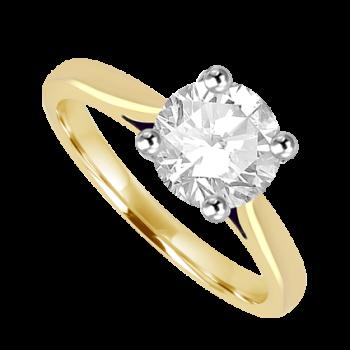 18ct Gold & Platinum GSi1 Diamond 1.30ct Solitaire Ring