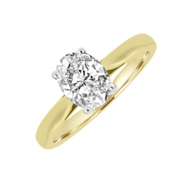 18ct Gold and Platinum .63ct Oval DSi1 Diamond Solitaire Ring