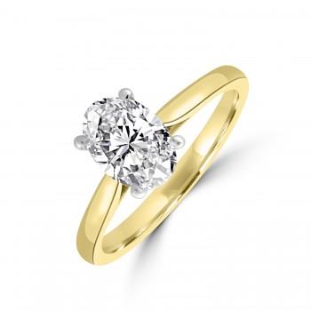 18ct Gold and Platinum Oval ESi1 Diamond Ring