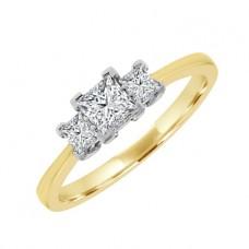 18ct Gold Three-Stone Princess cut Diamond Ring