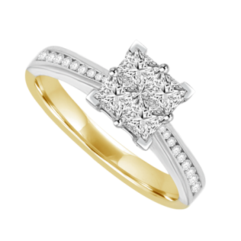 18ct Two-Tone Gold Diamond Quad Cluster Ring