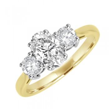 18ct Gold Three-stone Oval & Brilliant Diamond Ring