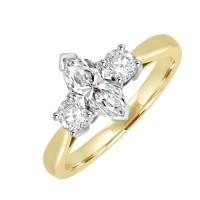 18ct Gold Three Stone Marquise & Brilliant Diamond Ring