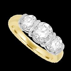 18ct Gold 3-Stone 1.58ct Diamond Bar Set Ring