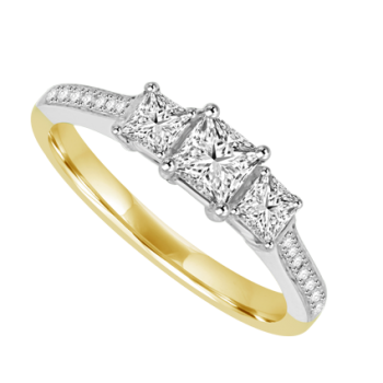 18ct Gold 3-stone Princess cut Diamond Ring with set shoulders