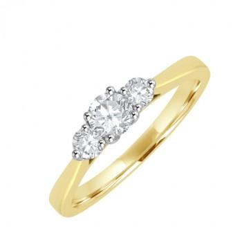 18ct Gold Three-Stone Diamond 4x3 Claw Ring