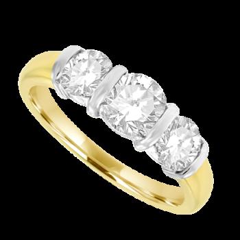 18ct Gold 3-stone 1.00ct Diamond Bar Set Ring