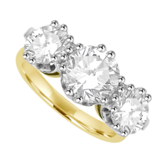 Plat Gold 3-stone 3.02ct Diamond Ring