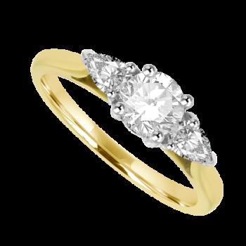 18ct Gold 3-stone Brilliant & Pear cut Diamond Ring
