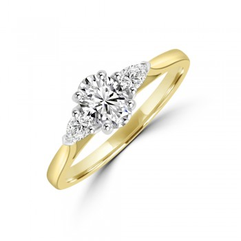 18ct Gold Three-stone Oval & Pear cut Diamond Ring